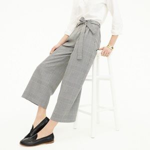 NWT J.Crew Wide Leg Pant Cropped in Glen Plaid